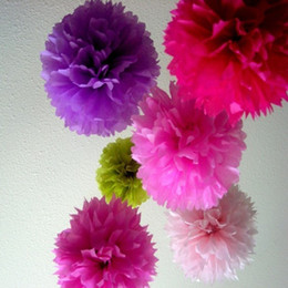 "Wholesale Wholesale Paper Flower Balls - Free Sipping Colorful Tissue Paper Flower ball Tissue Paper Pom Poms 14"" Wedding Birthday Party Decoration Accessory"