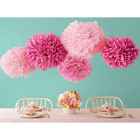 "Wholesale Wholesale Tissue Flowers - Free Shipping Colorful Tissue Paper Flower Ball Tissue Paper Pom Poms 14"" 35cm Wedding Birthday Party Decoration"