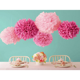 "Wholesale Decoration Paper Flower - Free Shipping Colorful Tissue Paper Flower Ball Tissue Paper Pom Poms 14"" 35cm Wedding Birthday Party Decoration"