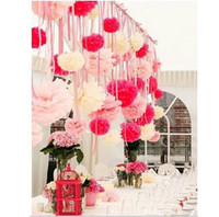 "Wholesale Colorful Tissue Paper Flower Ball - 2016 Free Shipping colorful tissue paper flower ball Tissue Paper Pom Poms 12"" wedding party decoration"