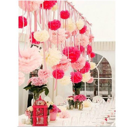 """Wholesale Colorful Tissue - 2016 Free Shipping colorful tissue paper flower ball Tissue Paper Pom Poms 12"""" wedding party decoration"""