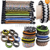 Wholesale Green Survival Bracelet - 20PCS Cobra PARACORD BRACELETS KIT Military Emergency Survival Bracelet 550 King Mix colors Free [B741-B742 M*20]