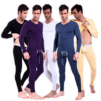 Wholesale Hot Suits For Men - Hot Men's Long Johns Clothing Modal V Collar Thermals long john for Autumn Winter Sexy Hot 7081+7082