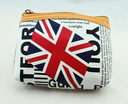 Wholesale Flag Business - Free Shipping New Fashion Women Union Jack Zip Coin Purse, PU Leather Nation Flag Coin Wallet, 12pcs lot