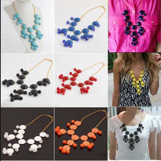 Christmas Jewelry New Women Resin Gem Bubble Bib Statement Necklace 5colors Mix Choice