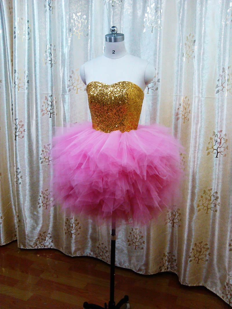 Hot Sale Lovely Sweetheart Gold Sequin Pink Short Mini Ball Gown ...