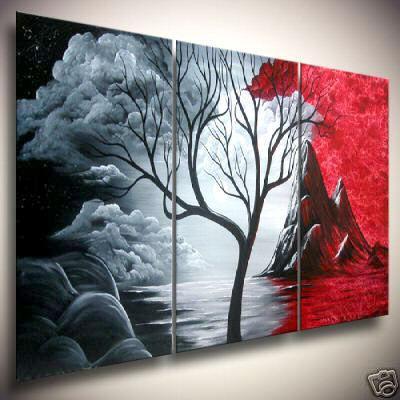 Peinture abstraite moderne énorme d'huile de mur de toile