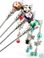 Wholesale Chinese Cloisonne - Beautiful 4pcs Chinese Handcrafted Cloisonne Hair stick