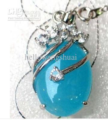 Großhandel Kinder Schmuck Silber Blau Jade Anhänger Halskette