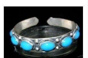 Charming Tibet Silber Türkis Manschette Armband Größe: Einstellbar