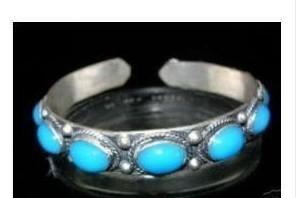 Encantador Tibet Silver Turquesa Cuff Bracelet Tamanho: Ajustável