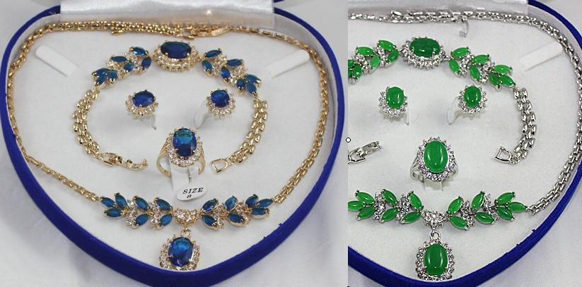 Grün blau Jade Kristall Silber Halskette Armband Ohrring Ring Sets