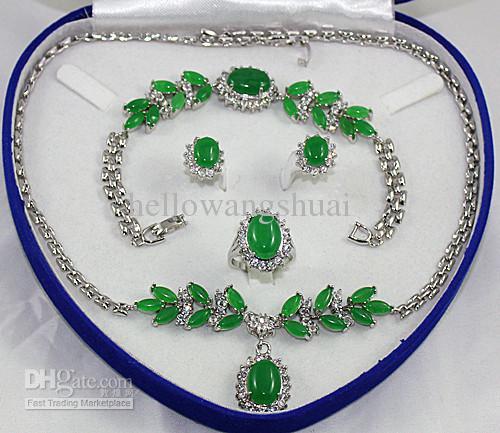 녹색 푸른 비취 크리스탈 실버 목걸이 팔찌 귀걸이 반지 세트