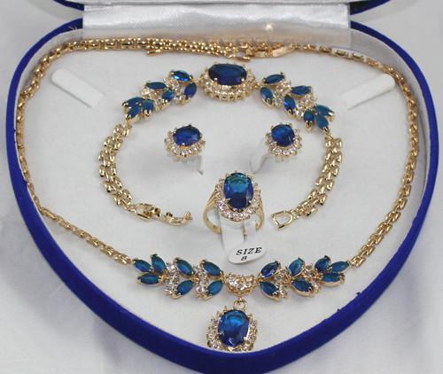 Conjuntos de anel de brinco de pulseira de prata cristal azul verde jade brinco