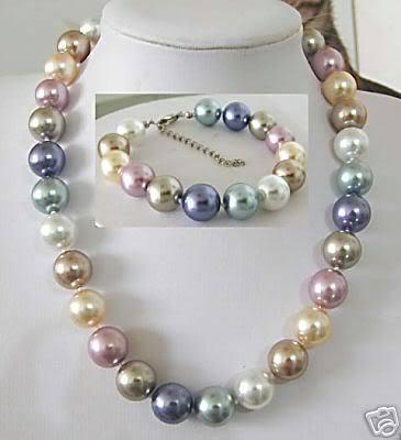 Cheap 10MM Multicolor Shell pearl Necklace Bracelet Jewelry set