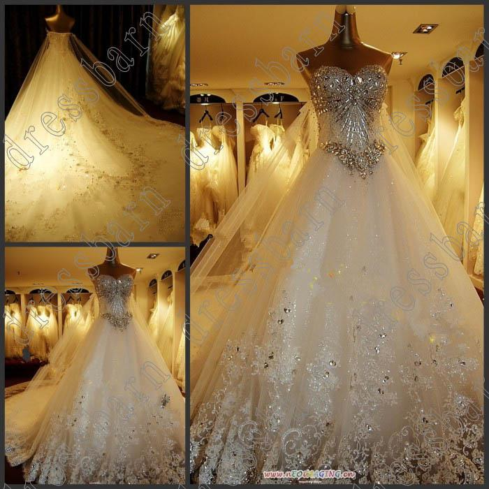 Nice Discount 2013 Newest Luxury Bride Dress Sweetheart Swarovski Crystals  Applique Bead Cathedral Wedding Dresses Top Of The Line Wedding Dresses  Vintage Lace A ...