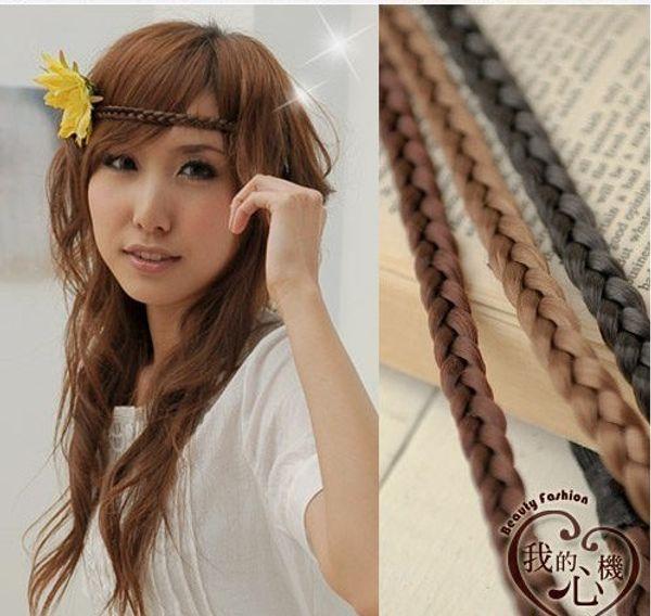Medium elastic twisted knitted headband 1.1CM Width braided plaited hairband headband, colors mixed