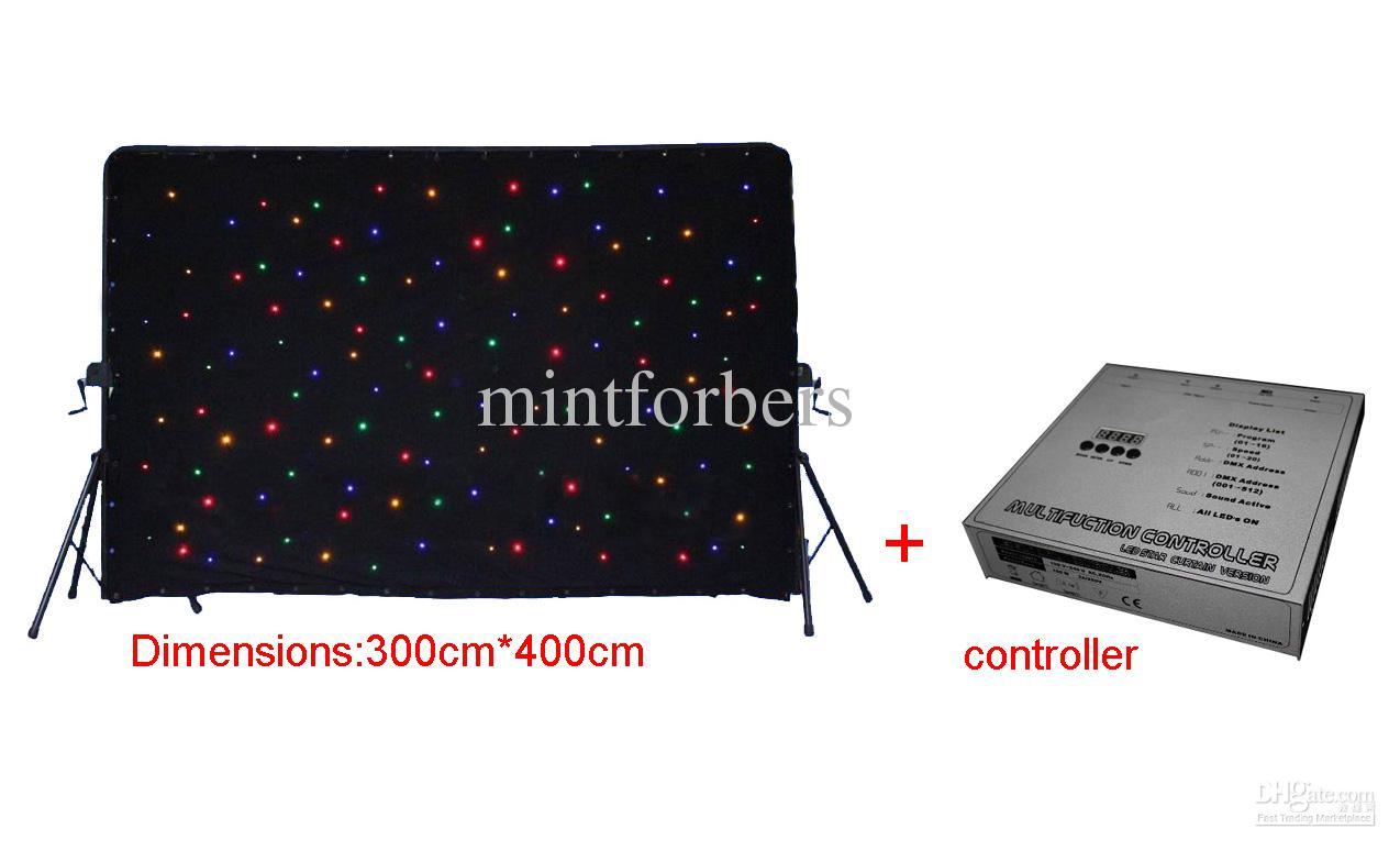 3x4 m RGBW LEVOU Estrela Cortina DMX512 controle LED Estrela Pano de Luz Cenário de Iluminação Pano de Fundo para Decoração de Palco de Casamento