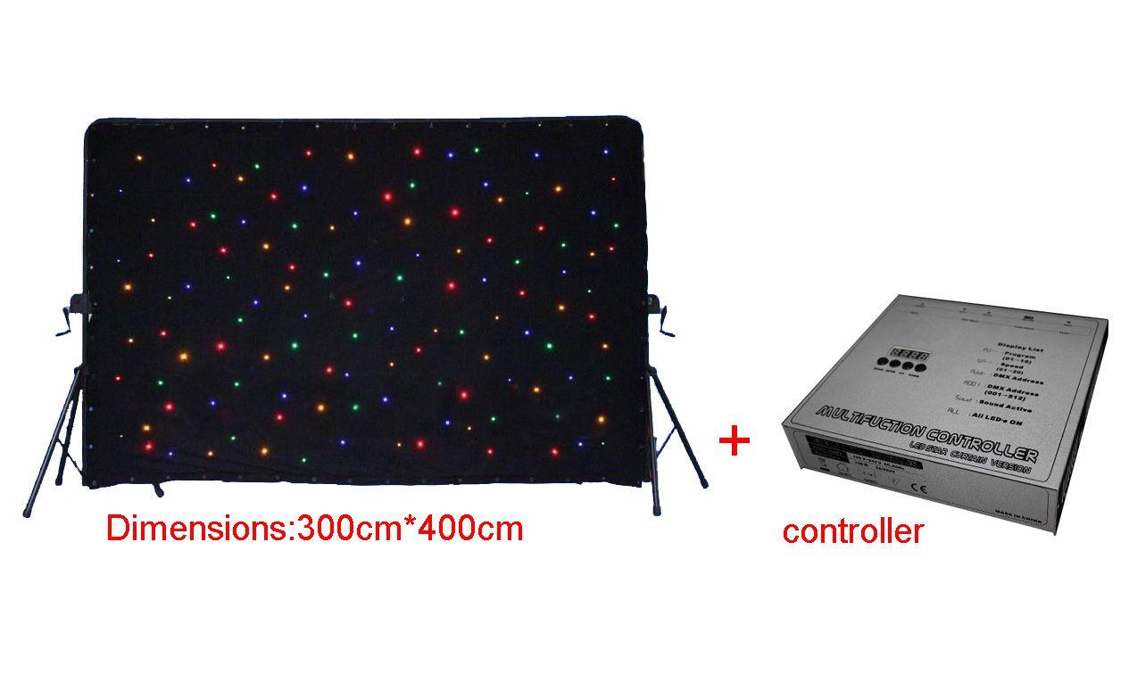 3x4m RGBW LED 스타 커튼 DMX512 제어 웨딩 스테이지 장식에 대 한 LED 스타 천으로 조명 단계 조명 배경