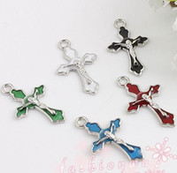 Wholesale Silver Jewelry Charm Pendants - Enamel Crucifix Cross Jesus Saint Charms Pendants 100pcs lot 5Colors 14x22.5mm Fashion Jewelry DIY Fit Bracelets Necklace Earrings L499