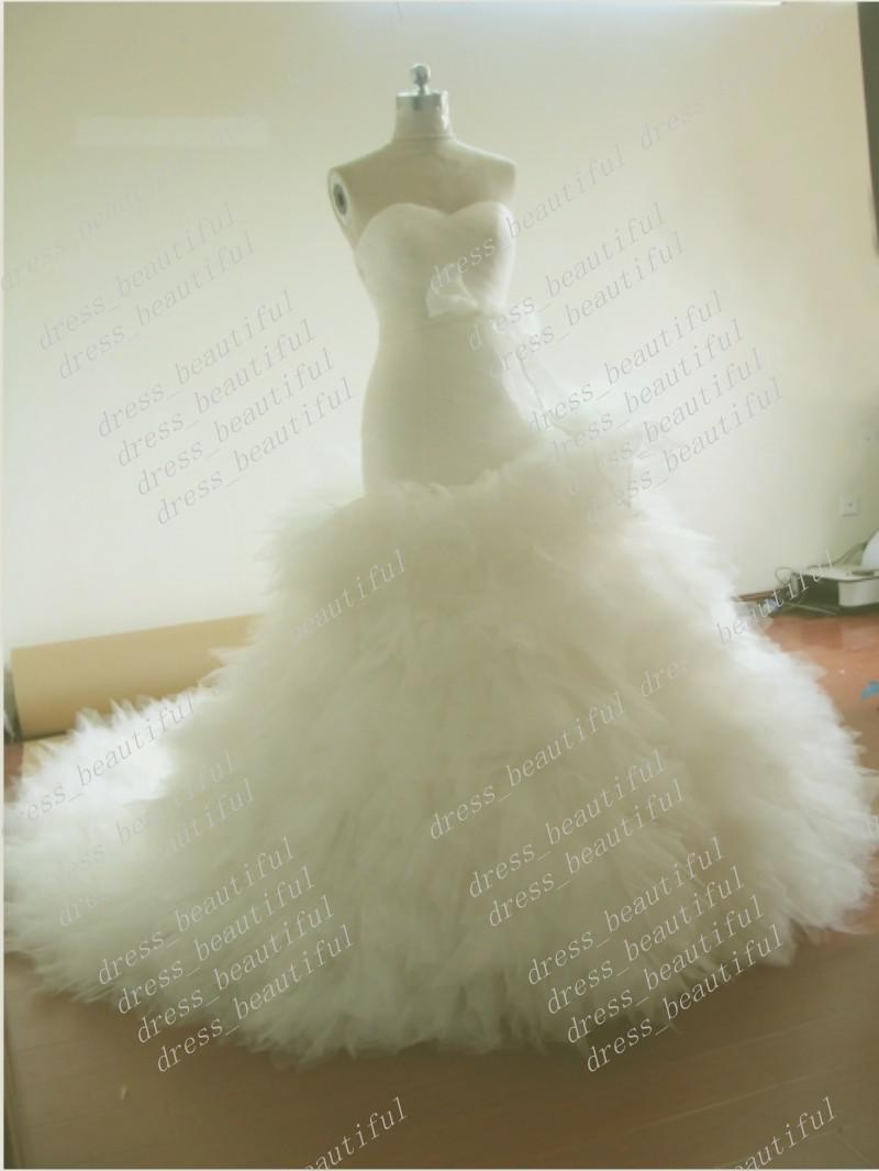 Custom Made Ball Gown Mermaid Strapless Sweetheart Tulle Wedding ...