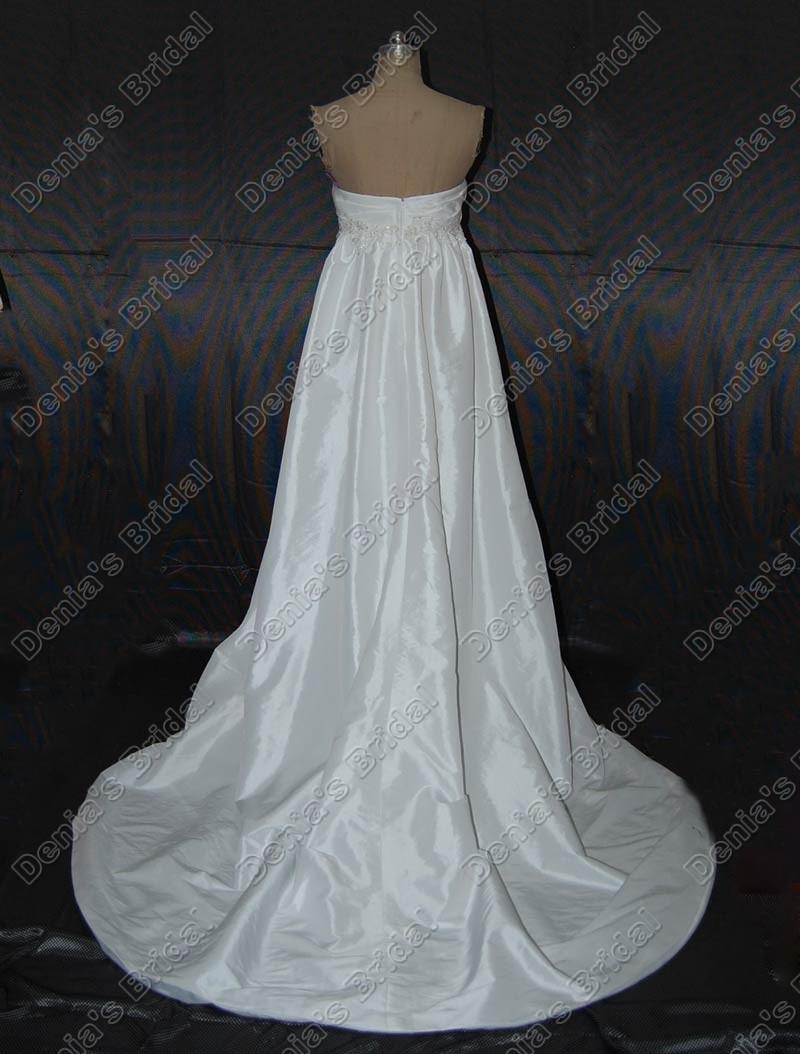 2017 Aラインエンパイア妊娠中のマタニティウェディングドレスアップリケ真珠のビーズの実際の画像ブライダルガウンDB146