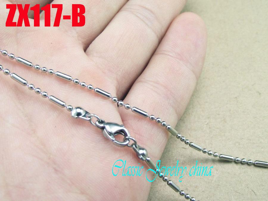 10pcs/lot high-quality recommend 316L stainless steel bead chain(Lobster Clasp) necklace 3+1 bamboo joint ball 1.5mm 450-900mm
