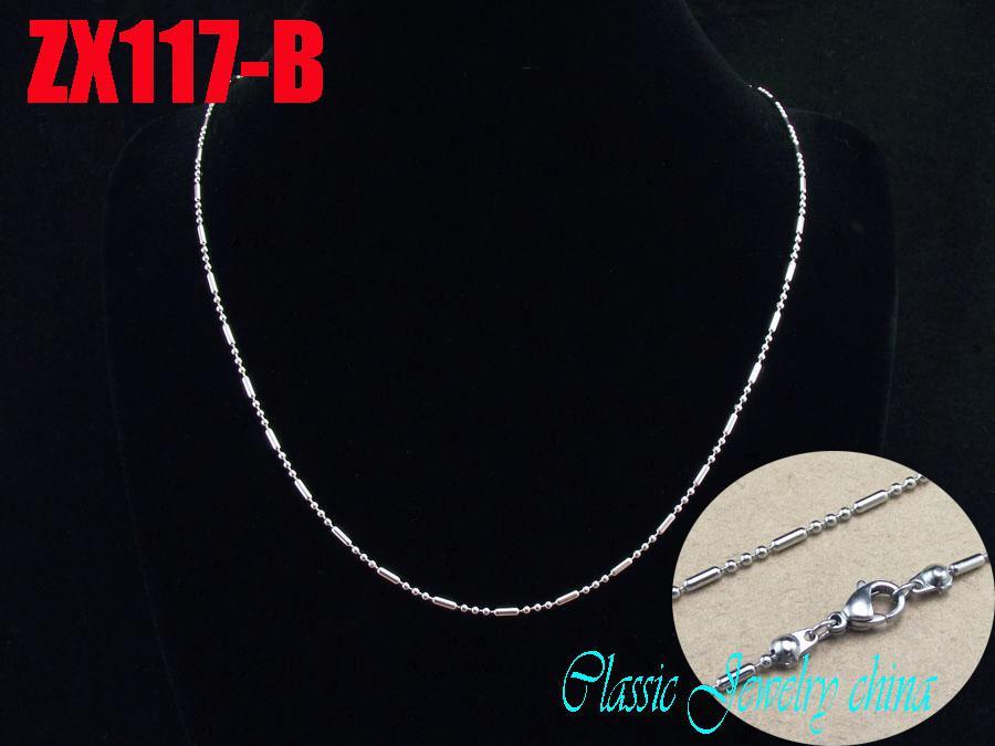 / de alta calidad recomiendan cadena de bolas de acero inoxidable 316L corchete de langosta collar 3 + 1 bola de la junta de bambú 1.5mm 450-900mm
