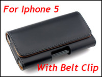 Wholesale Iphone5 Leather Holster - Smooth Horizontal Flip Belt Clip Leather Case Skin Cover Pouch Holster for iphone5 Iphone 5 5G Black