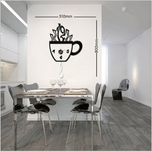 Wholesale DIY coffee cup creative combination wall clock sticker wall clock fashion the atmosphere wall cl