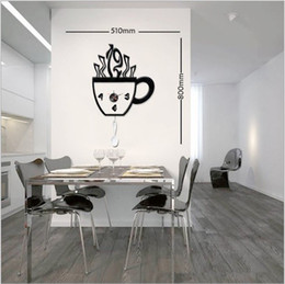Wholesale Coffee Cup Wall Clocks - DIY coffee cup creative combination wall clock, sticker wall clock, fashion, the atmosphere, wall cl