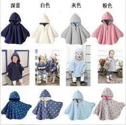 Wholesale Ponchos Capes Children - 10pcs Toddle Baby Double-side Wear Warm Hoodie Infant Cloak Shawl Cape Coat Children Outdoor Clothes