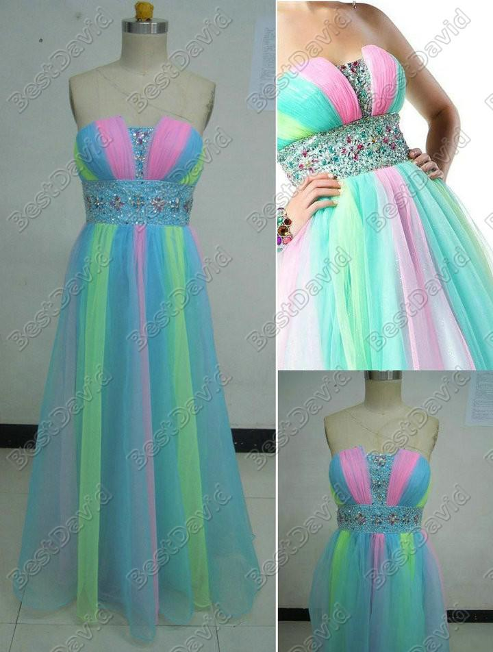 Multi Colored Ball Gown Designer Dress 4729h Inexpensive Prom