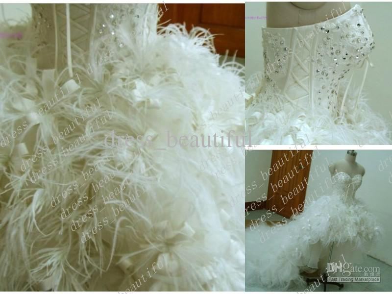 Discount Luxury Mini Short Strapless Sweetheart Organza Feathers ...
