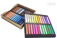 Wholesale Hair Chalk Set Dhl - DHL! Fast Delivery hair chalk Temporary Hair Color Pastel Chalk With Fashion Box !!48colors set(Box)