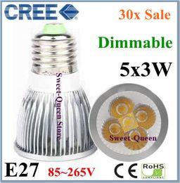 Wholesale E27 5x3w 15w - New Arrival High Powerfull Dimmable 5 CREE LED AC85~265V E27 5x3W 15W Light Spotlight Bulbs 30pcs