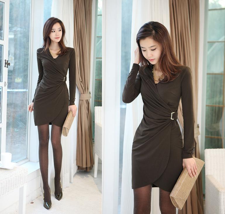 2018 Hot New Dress Newest Women Dress Long Sleeve Dress Sexy Dress Skinny Waist S M L Xl F0216