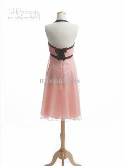 Pink A-line Halter Flower Bow Chiffon Tea Length Junior Bridesmaid Dress Short Charming Party Gowns Custom Made