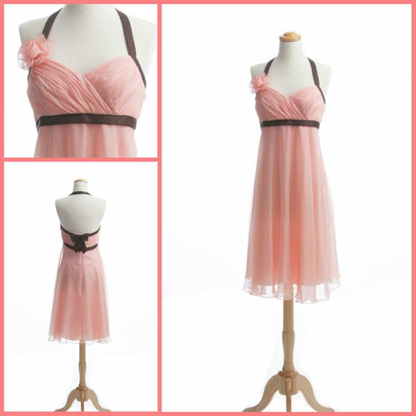Pink A-line Halter Flower Bow Chiffon Tea Length Junior Bridesmaid Dress Short Charming Party Gowns Free Shipping Custom Made