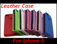 Wholesale Iphone 5g Iphone5 - Flip PU Leather Case for Apple iPhone 5 iPhone5 5G Smooth Cover More Colors 100pcs wholesale factory