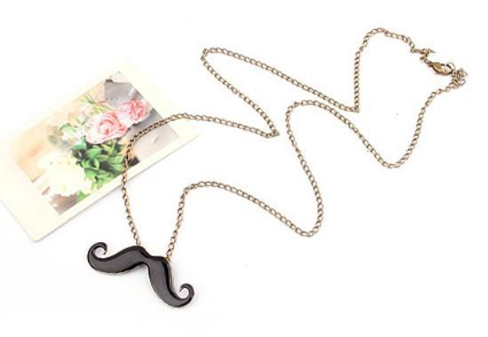 뜨거운 패션 보석 귀여운 콧수염 펜던트 복고풍 목걸이 구리 / 블랙 컬러 도매