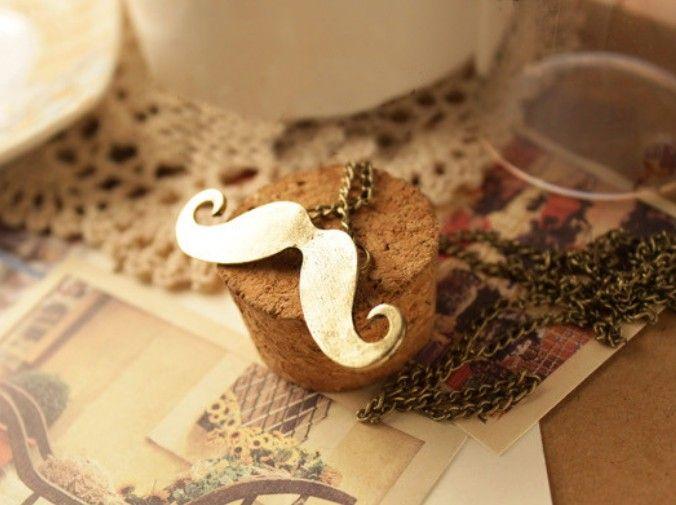 Heta mode smycken söt mustasch hängsmycke retro halsband koppar / svart färg grossist