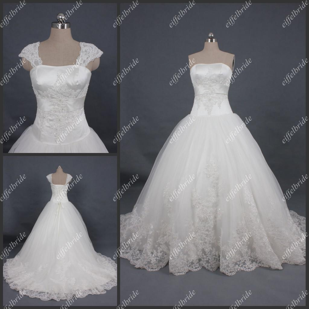 Real Sample Wedding Dresses Top Quality Cap Sleeves Long Tail White