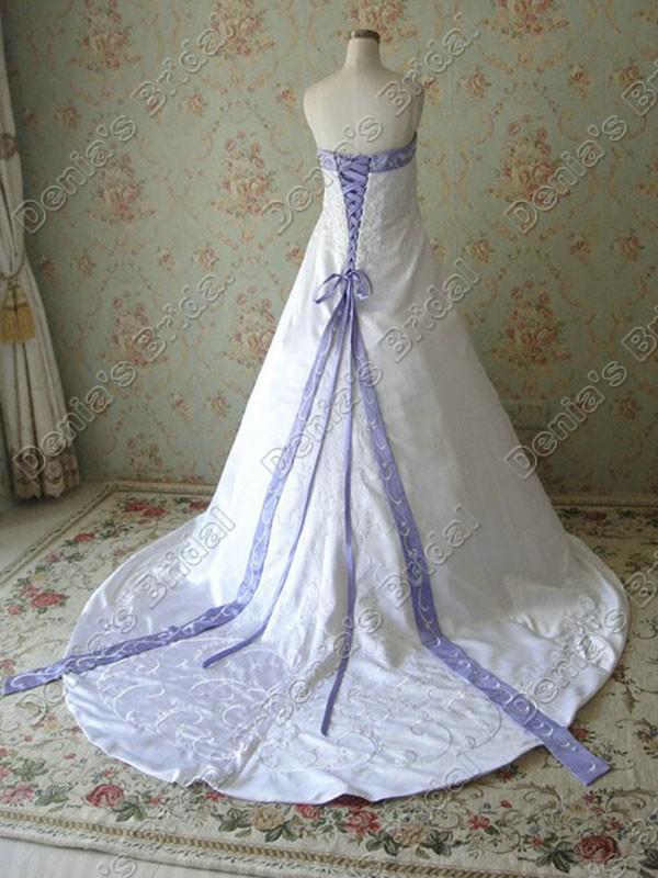 2017 Strapless 라인 자수 웨딩 드레스 아이보리 화이트 새틴 퍼플 넥 리본 실제 이미지 Bridal Gowns DB268