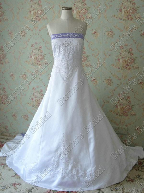 2017 Strapless A-Line Broderi Bröllopsklänningar Elfenben Vit Satin Lila Neck Ribbon Faktiska Bilder Brudklänningar DB268