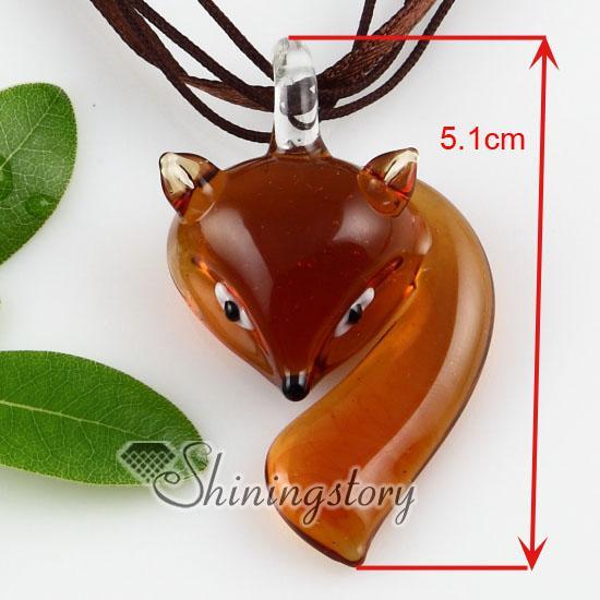 Fox lampwork murano glass handmade italy pendants for necklaces jewelry jewellery Fashion jewelry necklace Fashion necklace Mup113