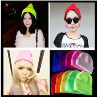 Wholesale Fashion Solid Colors Unisex Knitting Hats Caps BIGBANG GD Fluorescent color Thickened Hats Many colors to choose