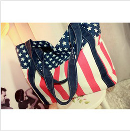 Bolsas de asas bandera online-Bolso de bandolera con bandolera de American Flag Purse en la bolsa de asa americana para damas estudiantes