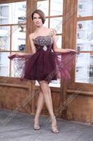 vestidos de graduación multicolor al por mayor-Vestidos cortos de baile sexy Longitud de cóctel Vestidos de Fiesta Una línea de escote corazón Con cuentas Con pliegues de tul Vestidos de fiesta de graduación