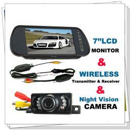 "Wholesale Wireless Car Rear Mirror - 7"" Car LCD Monitor Mirror+Wireless IR Reverse Car Rear View Backup Camera Kit"